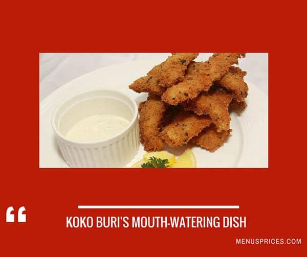 Koko Buri Menus Prices Complete List Of All Koko Buri