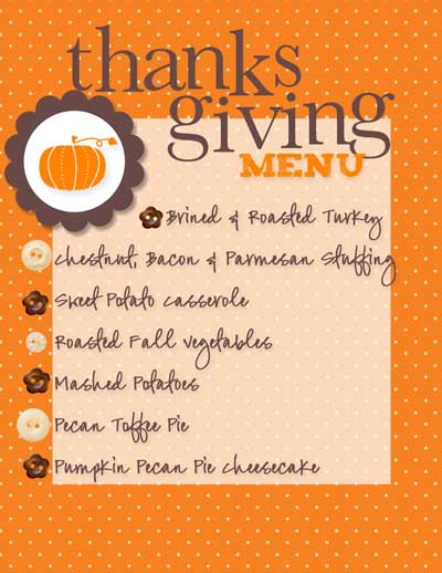 thanksgiving meal planner template excel