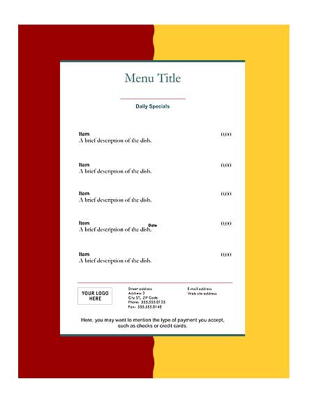 Download free restaurant menu templates for Templates for restaurant menus