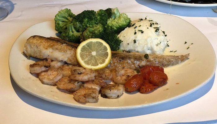 Cobia Piccata and Shrimp