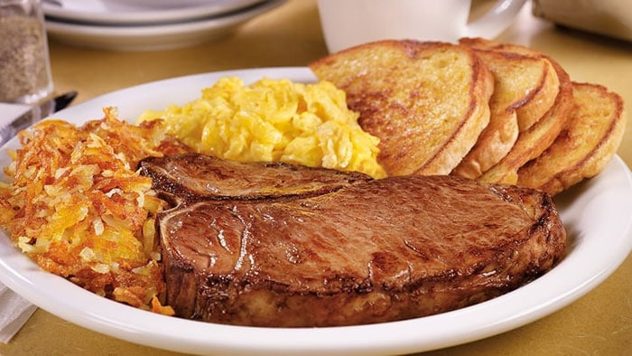 T-Bone Steak and eggs